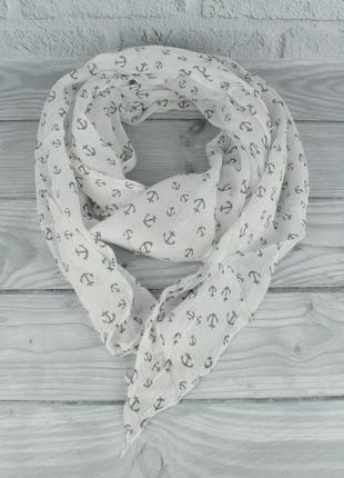 Итальянский шарф girandola 0001-133 белый с якорьками, коттон 80%, шелк 20%