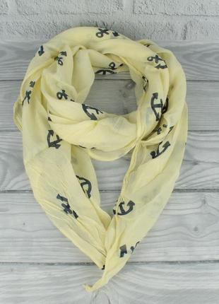 Итальянский шарф girandola 0001-134 желтый с якорьками, коттон 80%, шелк 20%