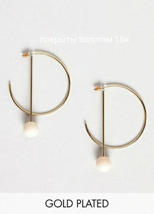 Позолоченные серьги трансформеры pilgrim оригинал, сережки кольца подвески asos, кульчики