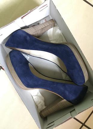 Красивенные туфли, натуральная замша, насыщенный синий цвет, размер 39