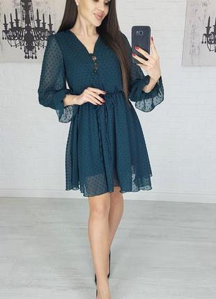 Платье шифон idiali цвет бутылка мод.481