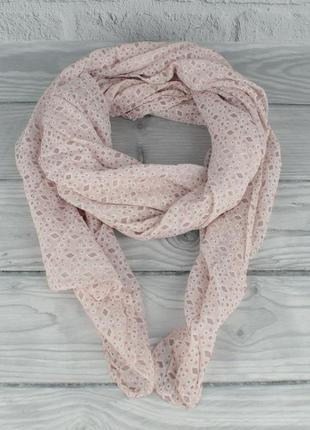 Итальянский шарф girandola 0001-141 нежно-розовый, ромбики, коттон 80%, шелк 20%