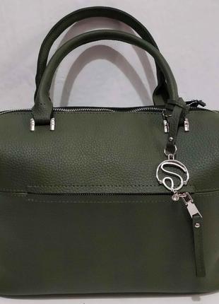 Женская вместительная сумка (зелёная) 20-02-017