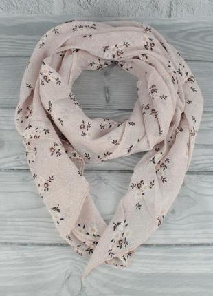 Итальянский шарф girandola 0001-143 пудра, цветочный, коттон 80%, шелк 20%