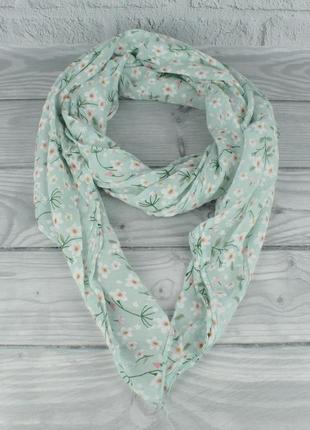 Итальянский шарф girandola 0001-144 бирюзовый, цветочный, коттон 80%, шелк 20%