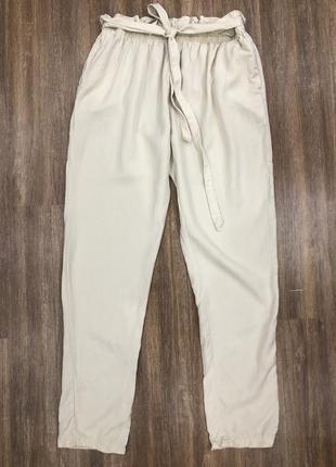 Стильные итальянские летние легкие брюки штаны бананы лиоцел