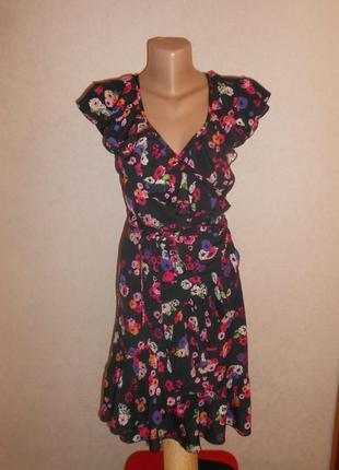 New look легкое вискозное платье халат на запах, р.10-38, s-ка