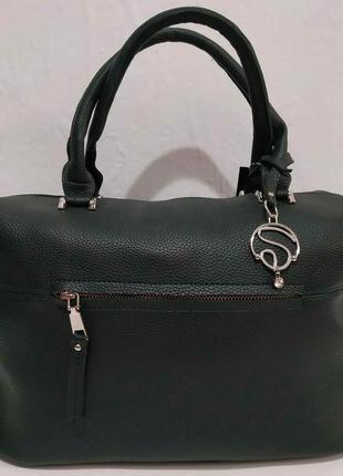 Женская вместительная сумка (тёмно-зелёная) 20-02-017