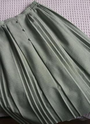 Фисташковая винтажная миди юбка плиссе винтаж