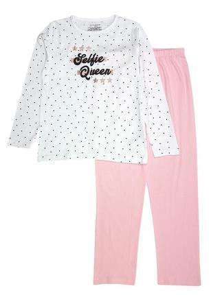 Стильная трикотажная пижама на девочку р. 134, 140, primark