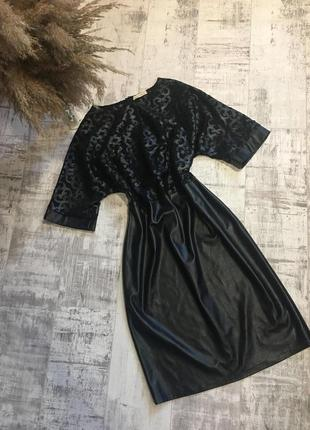 Красивое кожаное платье 😍(большой размер)(кожзам)