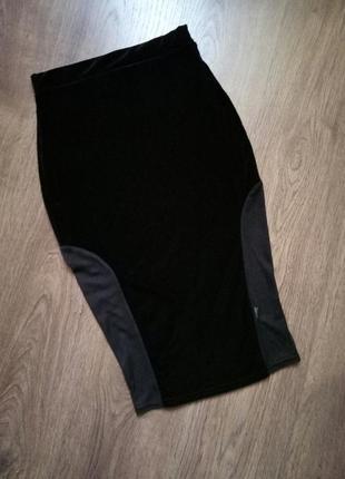 Бархатная велюровая юбочка карандаш миди размер хс