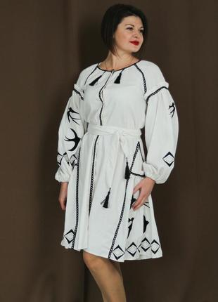 """Жіноче вишите плаття """"адріана"""" pj-0012-w"""