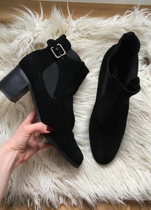 Стильные натур. замшевые стильные ботинки ботильоны полусапожки