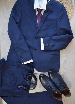 Тёмно-синий деловой официальный выпускной свадебный костюм m&s р50 рост 180