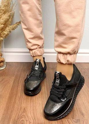 Новые шикарные женские кожаные черные кроссовки