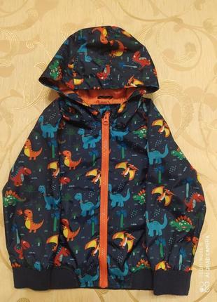 Яркая куртка  ветровка с динозаврами на 3-4 года
