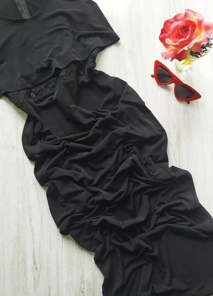 Шикарное вечернее черное платье в пол с разрезом на ножке ✨