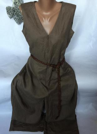 Крутой стильный комбинезон , платье 100% лён