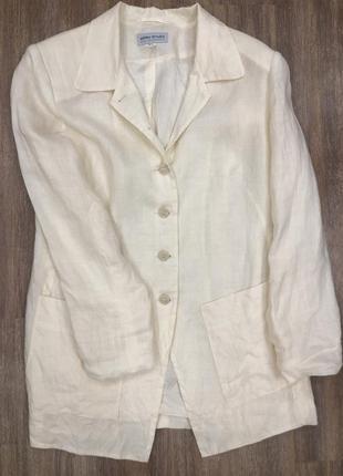 Шикарный стильный актуальный летний молочный пиджак жакет лён рами
