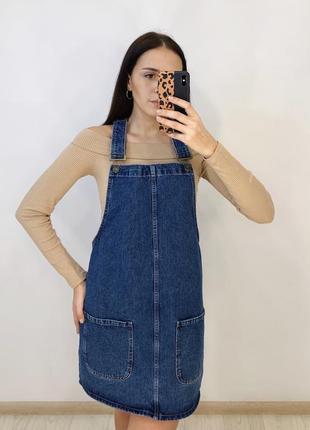 Синий плотный джинсовый комбинезон от denimco