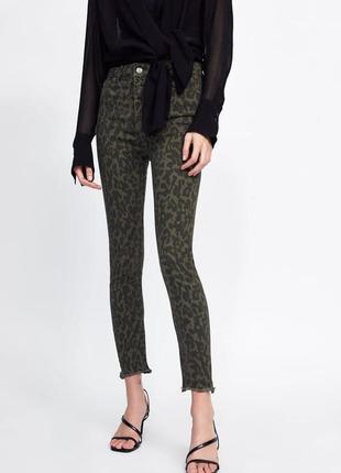 Премиум джинсы скинни zara камуфляж