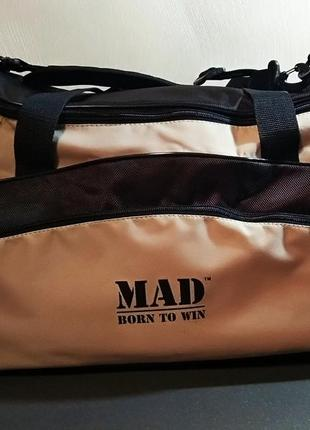 Бежевая спортивная сумка «mad», унисекс