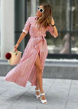 Стильное платье рубашка в полоску zara хлопок