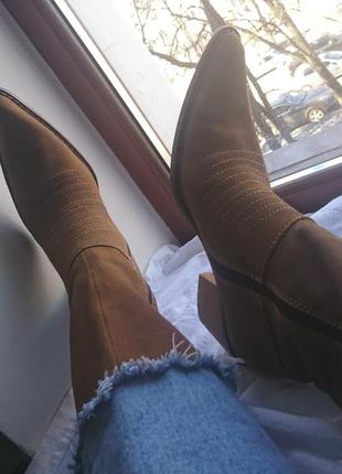 Казаки сапоги ботинки ковбойские ковбойки кожа под винтаж на молнии нубук замша