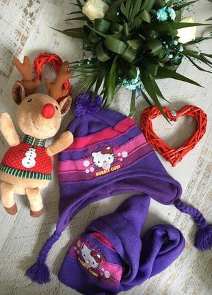 Красивый тёплый комплект китти шапка шарф