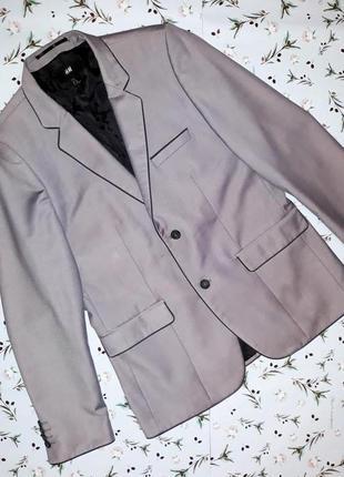 🎁1+1=3 фирменный серый мужской качественный пиджак h&m, размер 46 - 48