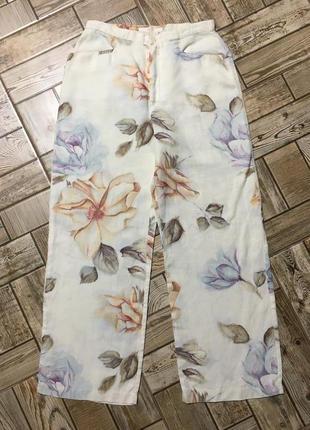 Идеальные льняные брюки в пастельный принт ,mac