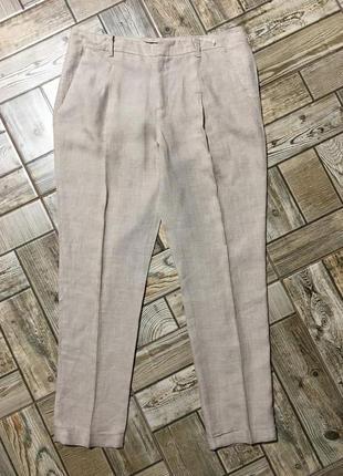 Льняные брюки чинос,с манжетами,zara