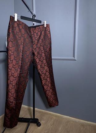 Нежные легкие классические бордовые премиум скини брюки в узор листика next