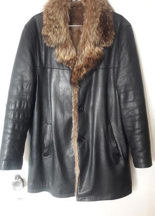 Кожаная меховая куртка