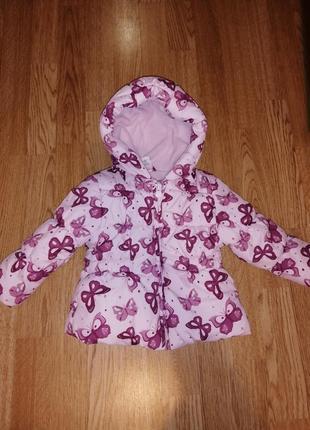 Куртка на девочку демисезонная весна эвро зима с бабочками