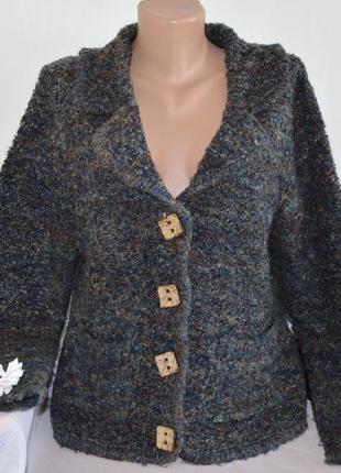 Брендовый теплый кардиган накидка с карманами elizabeth scott