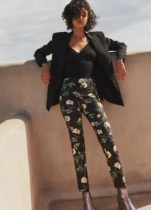 Брюки штаны чиносы укороченные высокая талия флористический принт h&m качество