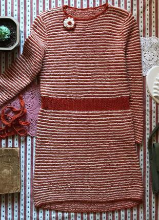 Вязаная туника свитер ручная работа в стиле бохо ретро винтаж