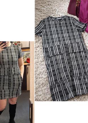 Комфортное оригинальное платье в клетку  с большими накладными карманами,  zara,  p. s-m