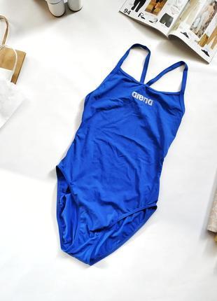 Синий слитный спортивный купальник с открытой спиной arena