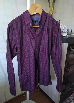 Рубашка мужская в гусиную лапку ted baker,m-ка