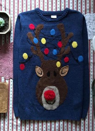 Новогодний свитер с оленем f&f на 12-13 лет (реально взрослый s-m)