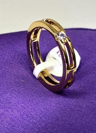 Позолоченное стильное кольцо р.18 с камнем, позолота