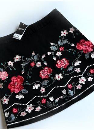 Черная котонавая юбка в вышивку цветы