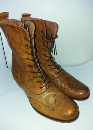 Казаки ботинки сапоги кожаные на шнурке на молнии