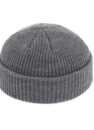 Шапка шапочка бини с заворотом мужская женская унисекс серая качественная новая