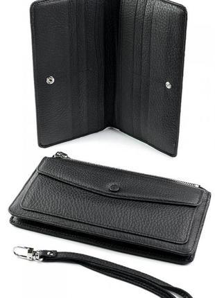 Женский клатч натуральная кожа женское портмоне с ремнем черный женский кошелек