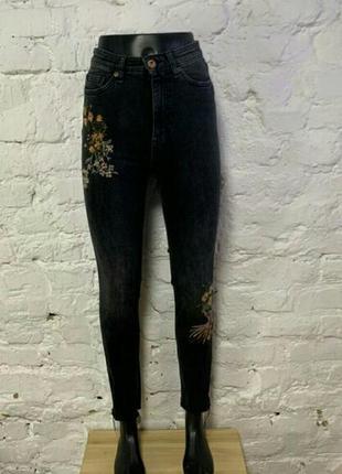 Шикарные джинсы, высокая посадка, с вышивкой