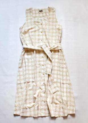 Плаття міді в клітинку з натуральної тканини